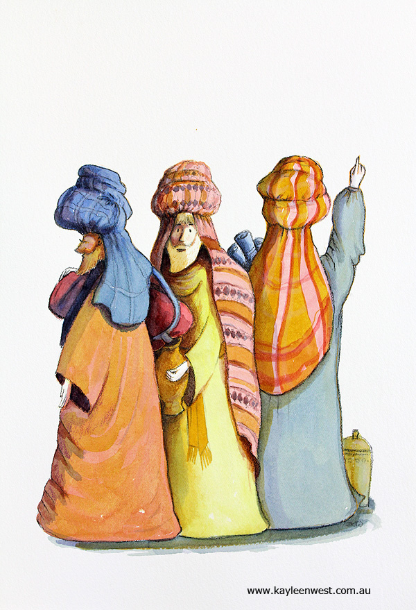 Children's Illustration / Gift Card Illustration : Three Wise Men