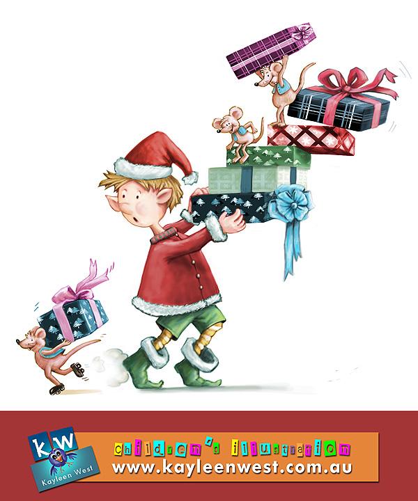 Christmas Card Illustration: Mice On The Run