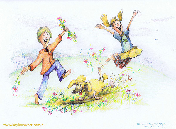 Children's Illustration: Ripping Up The Flower bed