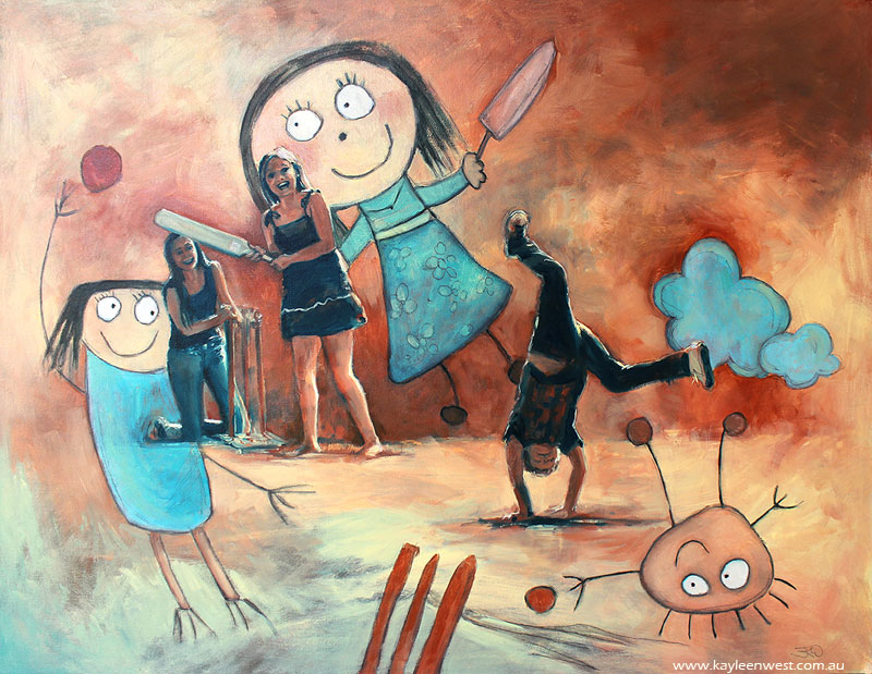 Children's Illustration: They always loved cricket - oil