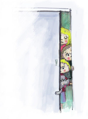 Children's illustration: Kids peeking through doorway waiting to be fed.