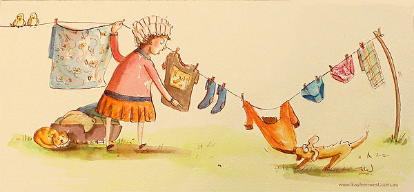 Children's Illustration Watercolour: Dog pulling washing off the laundry line.
