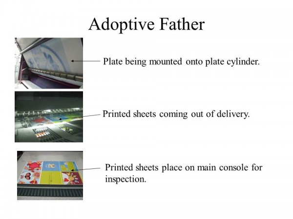 Printing process of a picture book. Adoptive Father