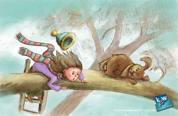 Children's illustration- Puppy Rescue. A child rescues a puppy from a tall tree. Illustration Friday concept theme: Rescue