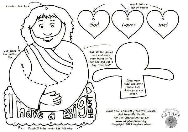 Free colouring printables - Jesus hugs me mobile.