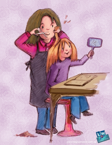 Girl at the hair salon- children's illustration for Illustration Friday