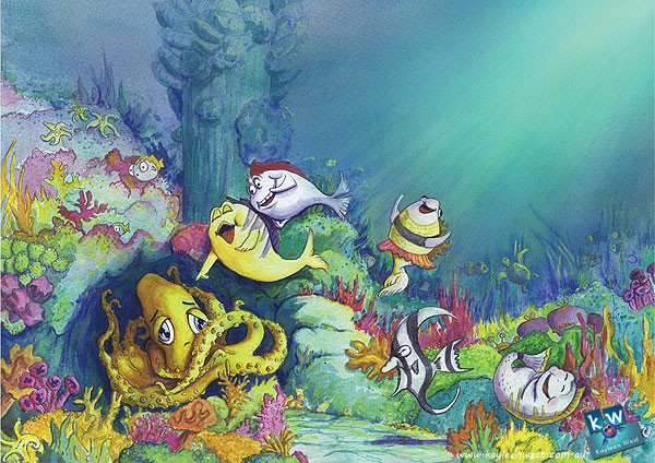 Children's book illustration: Underwater scene - Watercolour & Digital