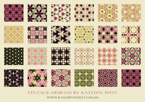 Vintage surface pattern design swatch. Floral