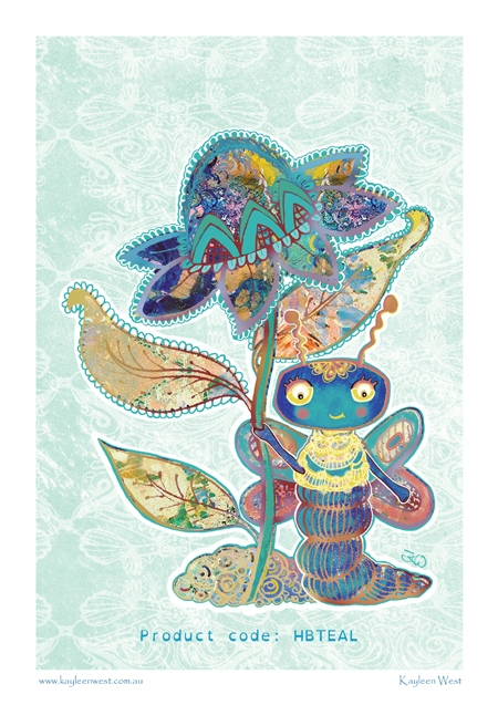 Happy poster print Happy Butterfly. Illustration by Kayleen West