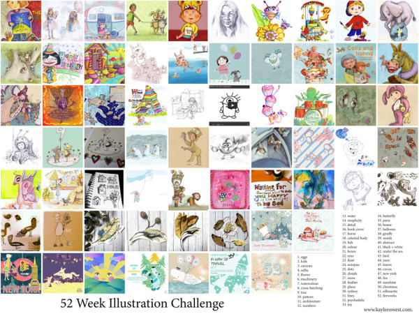 The many illustrations and sketches produced from the inspiration of the 52 week Illustration Challenge