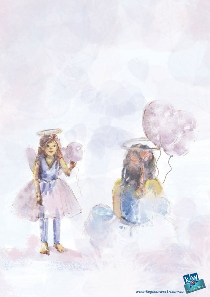 Little girl in angel costume. Watercolour gift card illustration.
