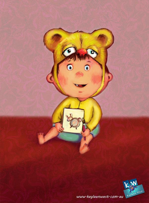 Baby drawing a selfie. Children's Illustration on iPad using Procreate app