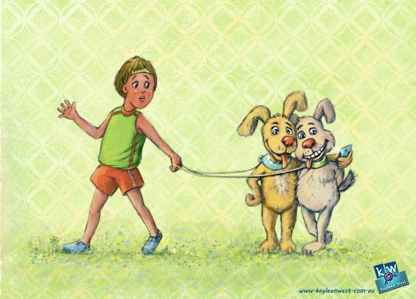 Dog selfie. Children's digital illustration.