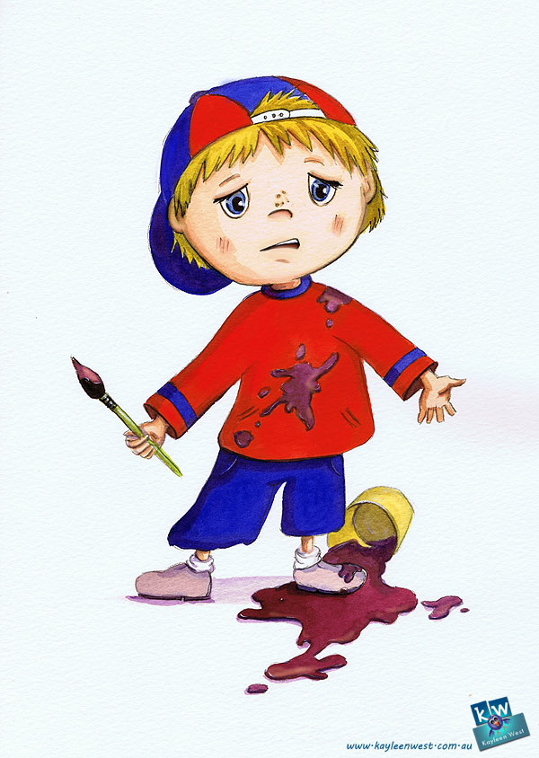 watercolour painting Unused illustration from new book BETTER THAN A SUPERHERO. of child spilling watercolour