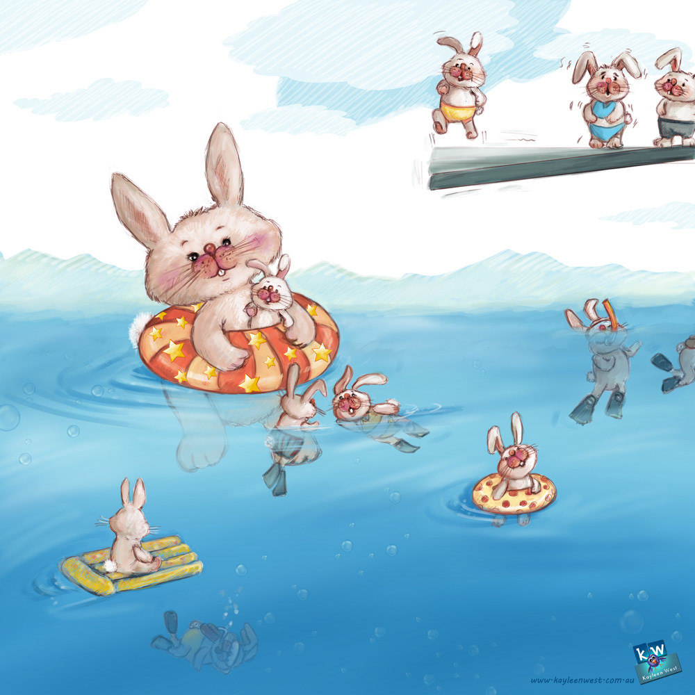 Bunnies swimming. SCBWI illustrator's portfolio. 52 week illustration challenge. Gift card Challenge