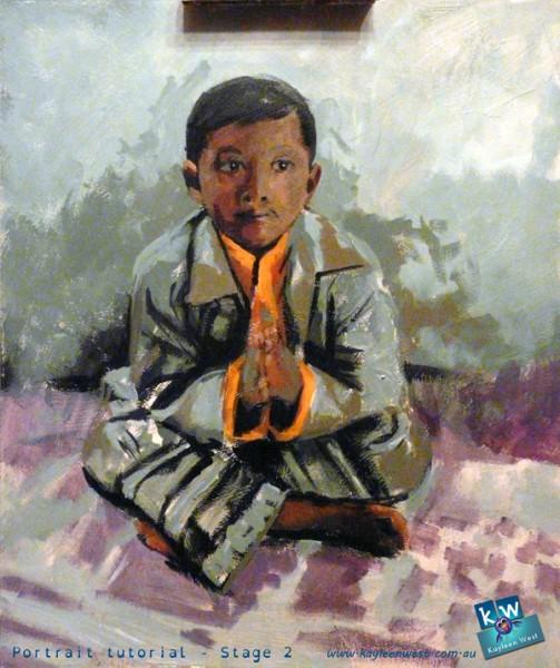 Stage 2 - child's oil portrait tutorial
