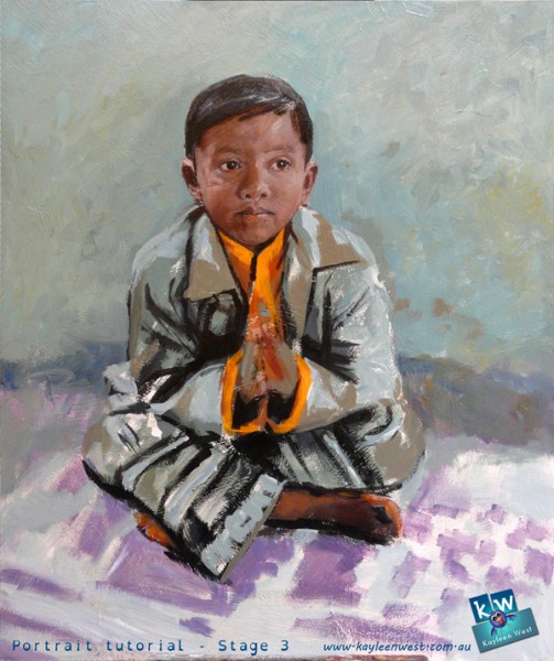 Stage 3 - child's oil painting portrait tutorial
