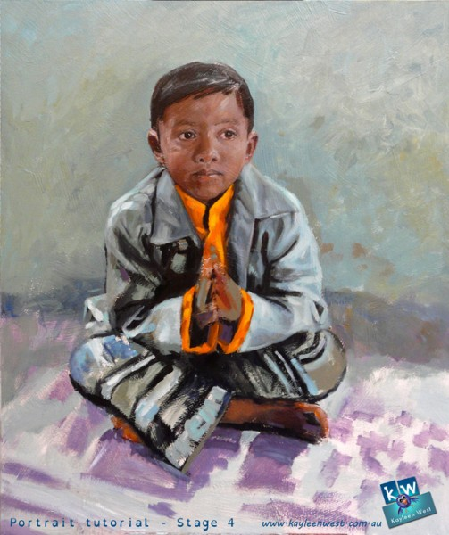 Stage 4 - child's oil painting portrait tutorial