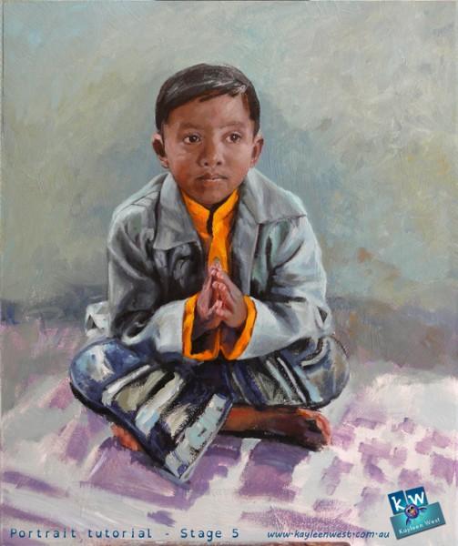 Stage 5 - child's oil painting portrait tutorial