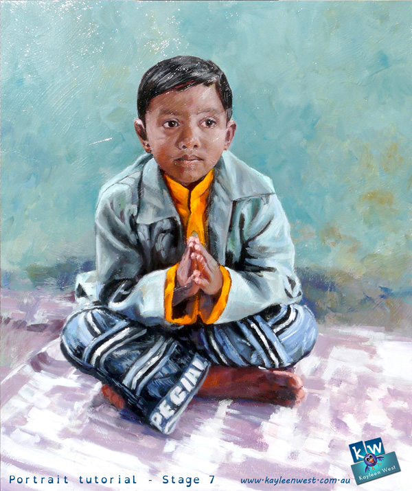 "Final stage in the child's oil portrait tutorial. ""A Child's Prayer."""