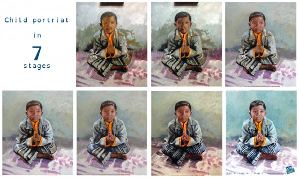Portrait tutorial in seven steps - oil painting.