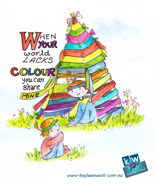 When your world lacks colour, you can share mine. My inspirational quote and illustration for the theme colour.
