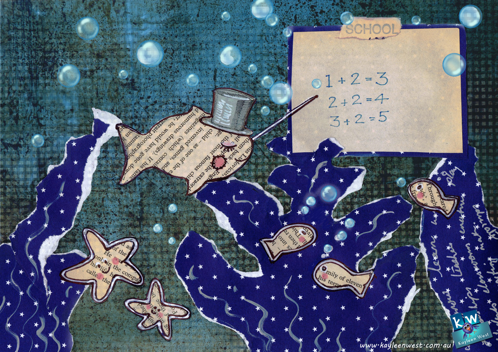 School of fish. Mixed media children's illustration.
