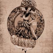 Art Nouveau Fashion Illustration of a woman in period dress.