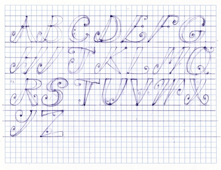 First stage of hand lettering tutorial