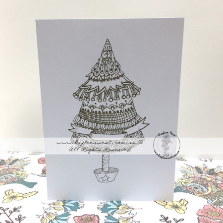 Christmas Colouring Card. Christmas Tree