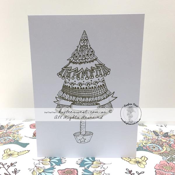 Christmas Colouring Card. Christmas Tree