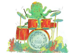 Childrens Illustration: Octopus playing drums. Birthday Card Illustration
