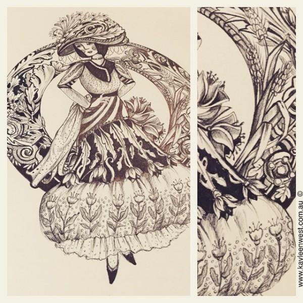 Fabulous Fashion: Ink pen illustration in a sketchbook