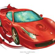 Commercial illustration: Red Ferrari - car magazine illustration