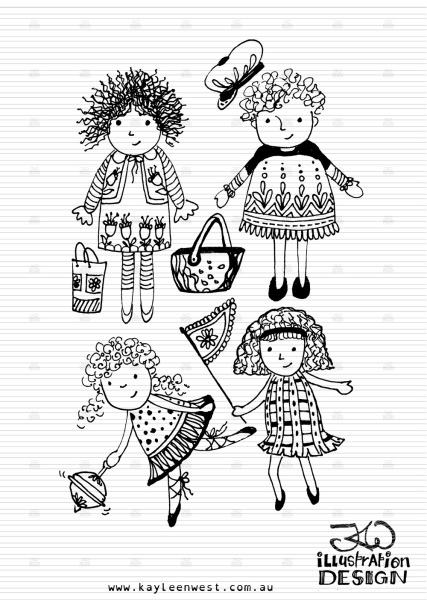 Illustration for INKtober 2014. Little girls so out to play illustration. #inktober