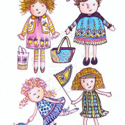 Children's illustration: Four little girls playing