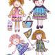 Children's illustration: Four little girls playing