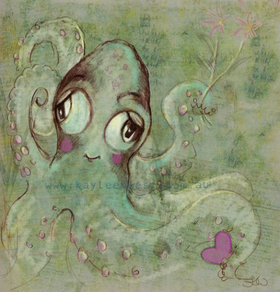 Romantic gift card sketch rough. Octopus with love heart and flowers.
