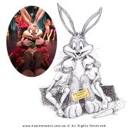 Sketchbook collaboration drawings: Bugs Bunny and Kids