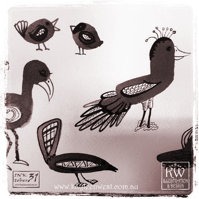 INKtober 2014. An inked sketch each day for the month of October. Today it is a inked birds illustration. #inktober
