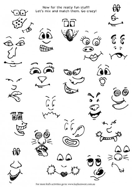 Cartooning faces cheat sheet for educators and teachers free download
