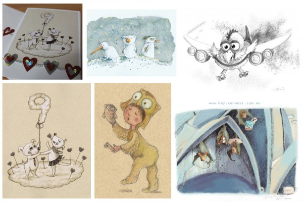 Children illustration 52 week challenge. Weeks 26 27 28 29 and 30. Clouds, snow, feather, plane and Sydney illustrations by Kayleen West