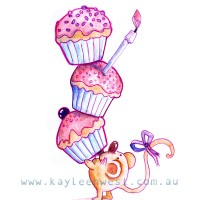 Birthday card illustration. Feast of cupcakes and a very greedy mouse.