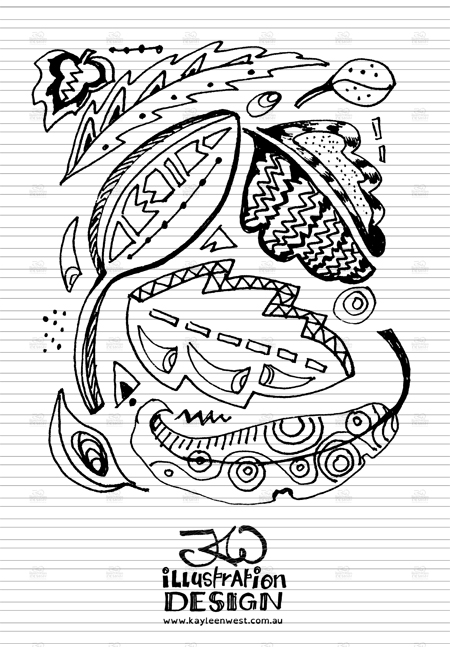 INKtober 2014. An inked sketch each day for the month of October. Tribal leaf pattern design sketch. #inktober