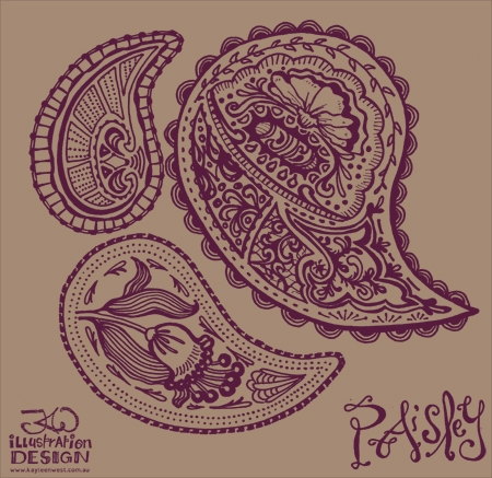 Surface pattern design: Paisley prints WIP