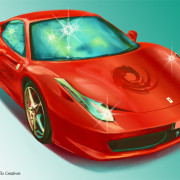 Automotive illustration: Red Ferrari - car magazine illustration